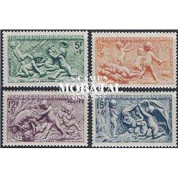 1949 Frankreich Mi# 877/880  ** Perfekter Zustand. Nach Skulpturen von Bouch (Michel)