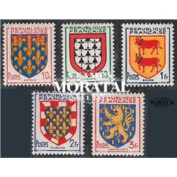 1951 France  Sc# 659/663  * MH Nice. Arms of  Province (V) (Scott)  Shield
