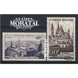 1951 France  Sc# 673/674  ** MNH Very Nice. Sites and Monuments (Scott)  Tourism