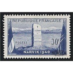 1952 France  Sc# 677  * MH Nice. Battle Narvik (Scott)  War