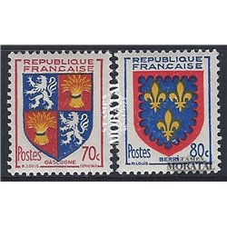 1953 France  Sc# 695/696  * MH Nice. Arms of  Province (VI) (Scott)  Shield