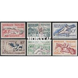 1953 France  Sc# 700/705  ** MNH Very Nice. O.G. Helsinki (Scott)  Sport