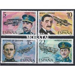1980 Spanien 2485/2488  Luftfahrt-Pioniere Flugzeuge ** Perfekter Zustand  (Michel)