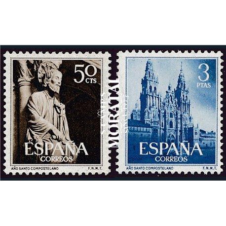 1954 Spanien 1025/1026  Heiligen Jahres Kloster-Tourismus ** Perfekter Zustand  (Michel)