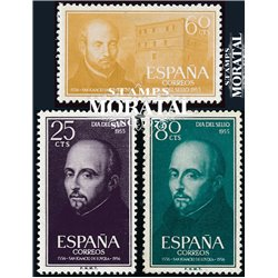 1955 Spain  Sc 836/838 Ignatius Loyola Religious **MNH Very Nice, Mint Hever Hinged?  (Scott)