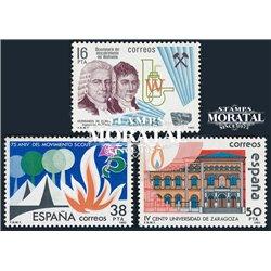 1983 Spanien 2598/2600  Ephemeriden Jubiläen ** Perfekter Zustand  (Michel)