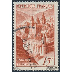 1947 France  Sc# 590  (o) Used, Nice. Abbey Conques (Scott)  Monastery-Tourism