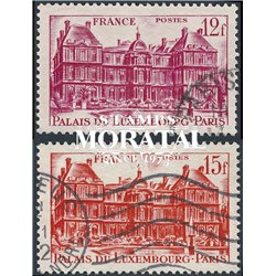 1948 France  Sc# 591/592  (o) Used, Nice. Luxembourg Palace (Scott)