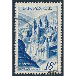 1948 France  Sc# 593  (o) Used, Nice. Abbey Conques (Scott)  Monastery-Tourism