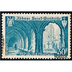 1951 France  Sc# 649  (o) Used, Nice. Abbey St-Wandrille (Scott)  Monastery-Tourism