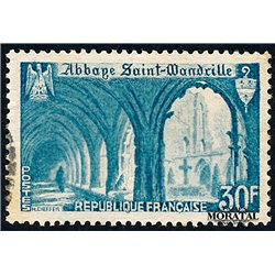 1951 France  Sc# 649  (o) Used, Nice. Abbey St-Wandrille (Scott)  Monastery-Tourism