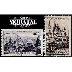 1951 France  Sc# 673/674  (o) Used, Nice. Sites and Monuments (Scott)  Tourism