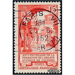 1952 France  Sc# 681  (o) Used, Nice. Holy Cross Poitiers (Scott)  Tourism