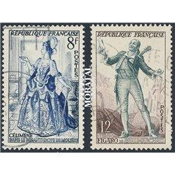 1953 Frankreich Mi# 962/963  (o) Gebrauchte, Zustand. Gestalten aus französischen Roman (Michel)  Literatur