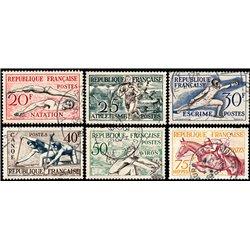 1953 Frankreich Mi# 978/983  (o) Gebrauchte, Zustand. O.S. Helsinki (Michel)  Sport