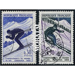 1962 France  Sc# 1019/1020  0. World Ski Champion-Ships (Scott)  Sport