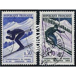 1962 Frankreich Mi# 1379/1380  0. Skiweltmeisterschaften (Michel)  Sport