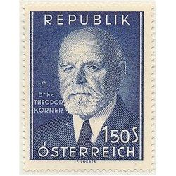 [23] 1953 Österreich Mi 982 80. Geburtstag von Präsident Theodor Korner 820.  ** Perfekter Zustand Briefmarken in perfektem Zust