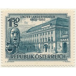 [23] 1953 Austria Sc 589 150th Anniversary of the Municipal Theater of Linz  ** MNH Very Nice Stamps in Perfect Condition. (Scot