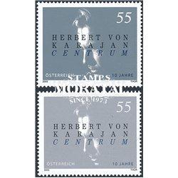 [23] 2005 Austria Sc 1977 a+b Herbert von Karajan  ** MNH Very Nice Stamps in Perfect Condition. (Scott)