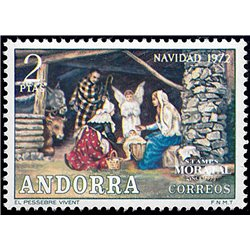 [24] 1972 Spanish Andorra Sc 71 Christmas  ** MNH Very Nice Stamps in Perfect Condition. (Scott)