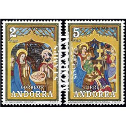 [24] 1973 Spanish Andorra Sc 77/78 Christmas  ** MNH Very Nice Stamps in Perfect Condition. (Scott)