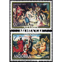 [24] 1975 Spanish Andorra Sc 90/91 Christmas  ** MNH Very Nice Stamps in Perfect Condition. (Scott)