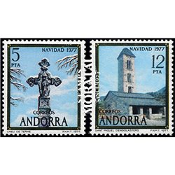 [24] 1977 Spanish Andorra Sc 100/101 Christmas. Cruz, San Miguel  ** MNH Very Nice Stamps in Perfect Condition. (Scott)