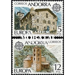 [24] 1978 Spanish Andorra Sc 103/104 CEPT Monuments  ** MNH Very Nice Stamps in Perfect Condition. (Scott)