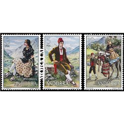 [24] 1979 Spanish Andorra Sc 108/110 Popular Costumes  ** MNH Very Nice Stamps in Perfect Condition. (Scott)