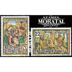 [24] 1980 Spanish Andorra Sc 124/125 Christmas  ** MNH Very Nice Stamps in Perfect Condition. (Scott)