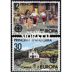 [24] 1981 Spanish Andorra Sc 126/127 Europe. Folklore  ** MNH Very Nice Stamps in Perfect Condition. (Scott)