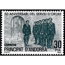[24] 1981 Spanish Andorra Sc 140 Order service  ** MNH Very Nice Stamps in Perfect Condition. (Scott)