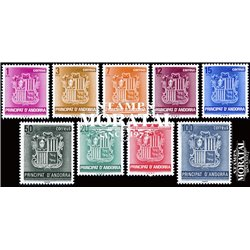 [24] 1982 Spanish Andorra Sc 134/142 Andorra Coat of Arms  ** MNH Very Nice Stamps in Perfect Condition. (Scott)