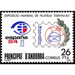 [24] 1984 Spanish Andorra Sc 161 Philatelic Municipal Exhibition  ** MNH Very Nice Stamps in Perfect Condition. (Scott)