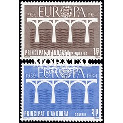 [24] 1984 Spanish Andorra Sc 162/163 UIC Europe  ** MNH Very Nice Stamps in Perfect Condition. (Scott)