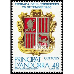 [24] 1987 Spanish Andorra Sc 177 Episcopal Co-princes  ** MNH Very Nice Stamps in Perfect Condition. (Scott)