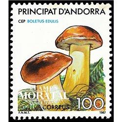 [24] 1987 Spanish Andorra Sc 181 Mushrooms Boletus Edulis  ** MNH Very Nice Stamps in Perfect Condition. (Scott)