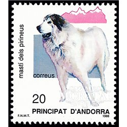 [24] 1988 Spanish Andorra Sc 186 Pyrenean Mastiff  ** MNH Very Nice Stamps in Perfect Condition. (Scott)