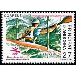 [24] 1992 Spanish Andorra Sc 219 Canoeing  ** MNH Very Nice Stamps in Perfect Condition. (Scott)