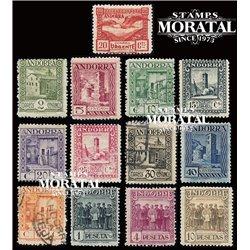 [24] 1929 Spanish Andorra Sc 13/24, E-3 Tourism. Andorra landscape  * MH Nice 19 & 21 in Used (Scott)