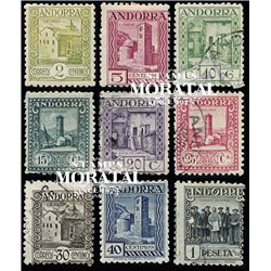 [24] 1931 Spanish Andorra Sc  Tourism. Andorra landscape  * MH Nice 10, 20, 25 and 30 centimos in Used (Scott)