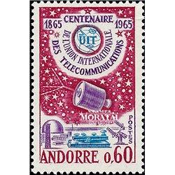 [24] 1965 French Andorra Sc 167 ITU  ** MNH Very Nice  (Scott)