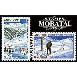 [24] 1966 French Andorra Sc 169/170 Snow sports  ** MNH Very Nice  (Scott)