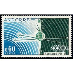 """[24] 1966 French Andorra Sc 171 """"FR 1"""" satellite  ** MNH Very Nice  (Scott)"""