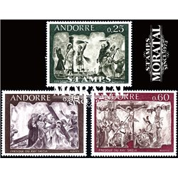 [24] 1968 French Andorra Sc 185/187 Frescos of the Town Hall  ** MNH Very Nice  (Scott)