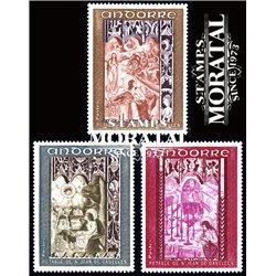 [24] 1969 French Andorra Sc 192/194 Chapel of San Juan de Caselles  ** MNH Very Nice  (Scott)
