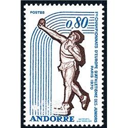 [24] 1970 French Andorra Sc 198 Sports. Athletics  ** MNH Very Nice  (Scott)