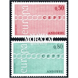 [24] 1971 French Andorra Sc 205/206 Europe CEPT  ** MNH Very Nice  (Scott)