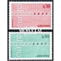 [24] 1971 French Andorra Sc 205/206 Europe CEPT  ** MNH Very Nice  (Scott)